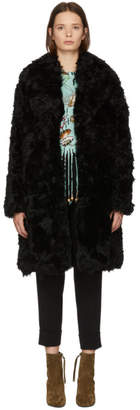 Yves Salomon Meteo Black Curly Lamb Fur Coat