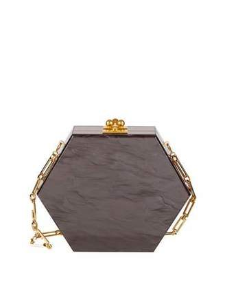 Edie Parker Macy Ribbon Hexagonal Clutch Bag, Gray/Brown