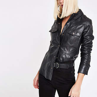 River Island RI Studio black leather popper front shirt