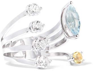Delfina Delettrez 18-karat White Gold Multi-stone Ring - 6