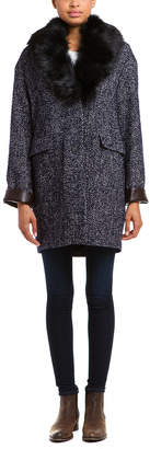 Dawn Levy 2 Kaba Navy Combo Tweed Coat