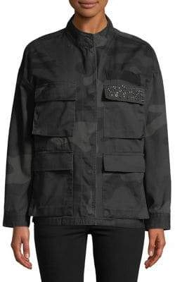 Highline Collective Drop Shoulder Army Camo Jacket with Embellishment