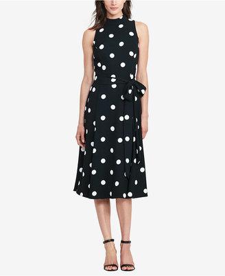 Lauren Ralph Lauren Polka-Dot Crepe Dress $175 thestylecure.com