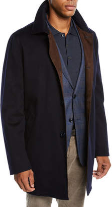 Mandelli Men's Cashmere Top Coat with Suede Detail
