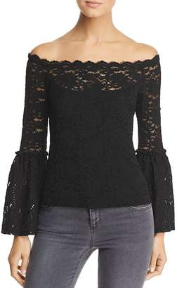 Red Haute Lace Off-The-Shoulder Top