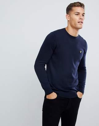 Lyle & Scott sweater in cotton in navy