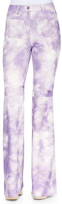 Michael Kors Tie-Dye Leather Bell-Bottom Pants, Wisteria