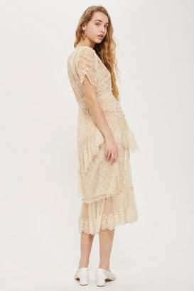 Topshop Embellished mesh tier midi dress