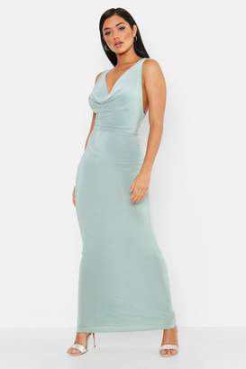 boohoo Cowl Neck Cross Back Maxi Dress