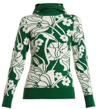 JoosTricot Floral Intarsia Cotton Blend Hooded Sweater - Womens - Green Multi