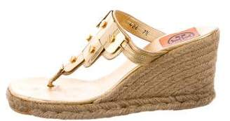 Tory Burch Embellished Wedge Espadrilles