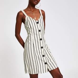 River Island Womens Cream stripe tie back slip dress