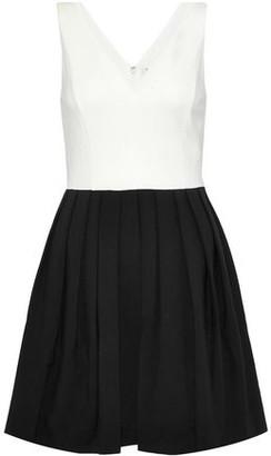 Halston Pleated Two-Tone Stretch-Ponte Mini Dress