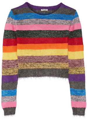 Miu Miu - Cropped Metallic Striped Stretch-knit Sweater - Pink $595 thestylecure.com