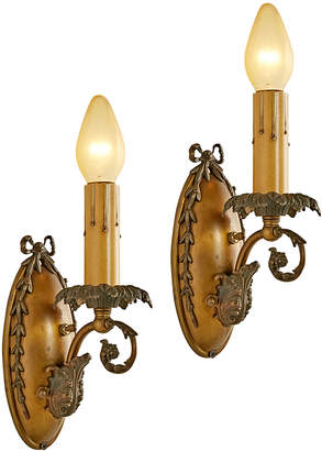 Rejuvenation Pair of Brass Classical Revival Candle Sconces