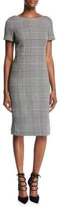 Escada Glen Plaid Short-Sleeve Sheath Dress, Black