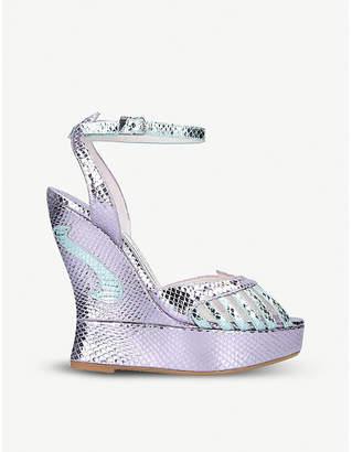 Terry De Havilland Margaux metallic snake-effect leather wedge sandals