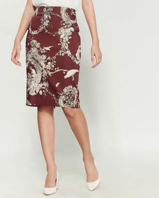 Samantha Sung Burgundy Chloe Floral Skirt