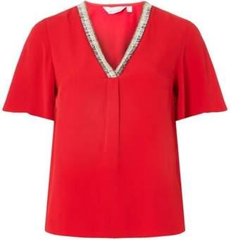 Dorothy Perkins Womens Petite Red Trim V-Neck Top
