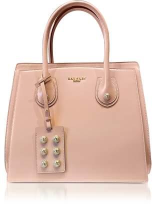 Balmain 3D Powder Pink Glossy Leather Top Handle Bag
