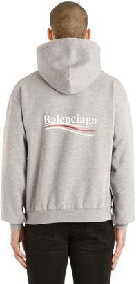 Balenciaga Political Logo Hooded Cotton Sweatshirt
