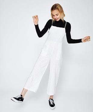 Subtitled Lecky Low Back Linen Jumpsuit Stripe
