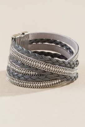 francesca's Elisa Pave Rope Wrap Bracelet - Gray