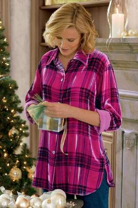 Soft Surroundings Plaid Velvet Big Shirt
