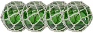 Areaware Mes Homewares Glass Ball with Weave (Set of 4), Dock Green