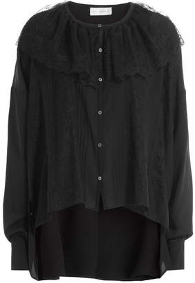 Faith Connexion Silk Blouse with Lace Cape