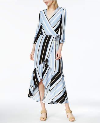 Bar III Striped Faux-Wrap Maxi Dress, Created for Macy's