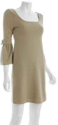 Bailey 44 camel stretch knit ¾'' bell sleeve dress