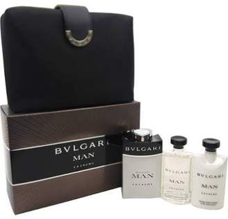 Bvlgari Blv By For Men Edt Spray 3.4 Oz & Aftershave Balm 2.5 Oz &shampoo And Shower Gel 2.5 Oz & Pouch