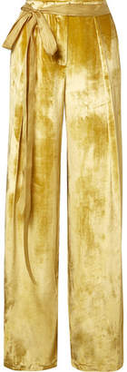 ADAM by Adam Lippes Moire-trimmed Velvet Wide-leg Pants - Yellow