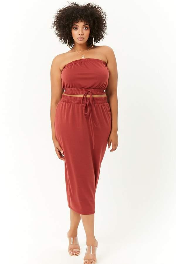 Plus Size French Terry Cropped Tube Top & Midi Skirt Set