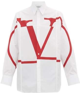 Valentino V Logo Cotton Poplin Shirt - Mens - White