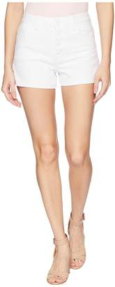 Paige High-Rise Sarah Shorts w/ Exposed Button Fly + Raw Hem in Lived In Crisp White Women's Shorts