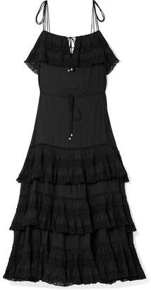 Zimmermann Juniper Tiered Lace-trimmed Pintucked Cotton-voile Midi Dress - Black
