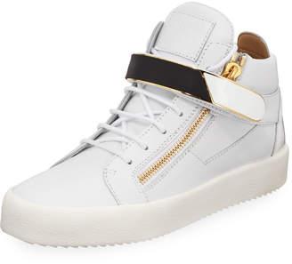 Giuseppe Zanotti Men's Single-Strap Leather Mid-Top Sneakers