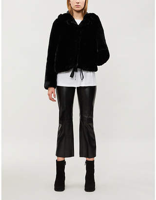 Sandro Ondine hooded faux-fur jacket