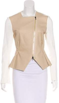 Roland Mouret Leather-Accented Zip-Up Jacket