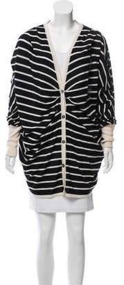 Oscar de la Renta Striped Cashmere & Silk Cardigan
