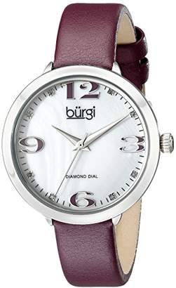 Burgi Women's BUR119PU Diamond Accented Mother-of-Pearl Silver & Purple Leather Strap Watch