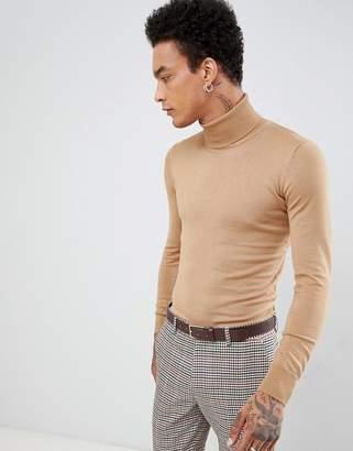 Gianni Feraud Premium Muscle Fit Stretch Roll Neck Fine Gauge Sweater
