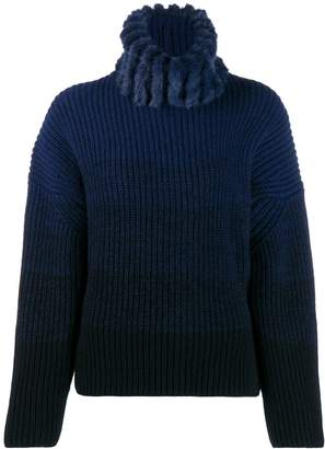 Fendi ombre knit turtleneck jumper
