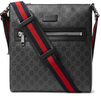 Gucci Leather-Trimmed Monogrammed Coated-Canvas Messenger Bag - Men - Black