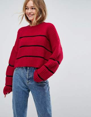 Asos Chunky Jumper With Contrast Ladder Stitch