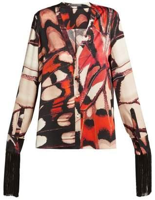 Alexander McQueen Butterfly Print Silk Blouse - Womens - Multi