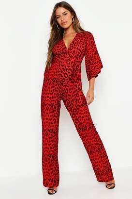 boohoo Petite Leopard Print Tie Waist Wrap Jumpsuit