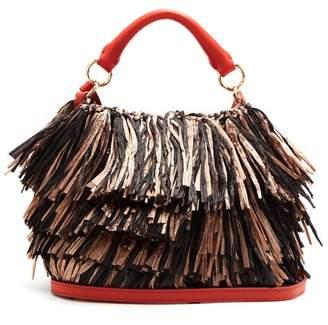 Diane Von Furstenberg - Raffia Fringe Bucket Bag - Womens - Black Multi